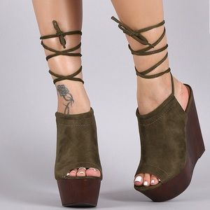 Wild Diva Sexy Tie Up Wooden Suede Platform Shoes